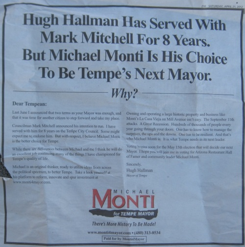Tempe Mayor Hugh Hallman thinks Mark Mitchell sucks and is supporting Michael Monti for Tempe Mayor  - This ad is probably illegal under Tempe election law - The ad was run in the Saturday Tempe Arizona Republic on April 21, 2012