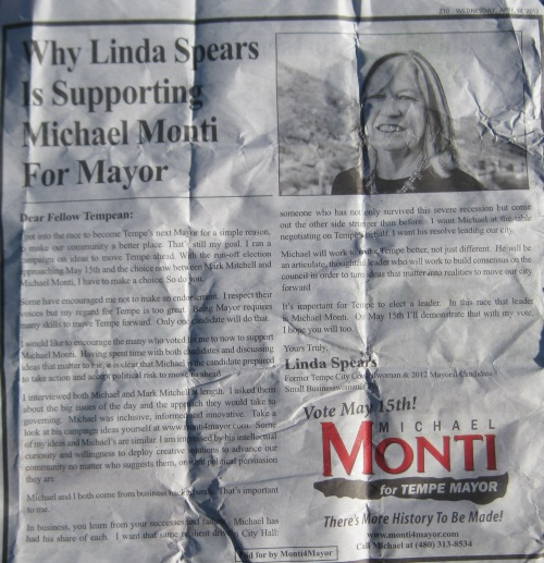 Tempe City Councilwoman Linda Spears thinks Mark Mitchell sucks and is supporting Michael Monti for Mayor - This ad is probably illegal under Tempe election law  - The ad was run in the Wendesday Tempe Arizona Republic on April 18, 2012